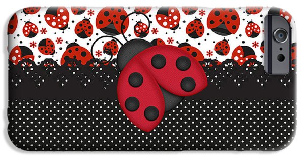 Ladybug iPhone Cases - Ladybug Mood  iPhone Case by Debra  Miller
