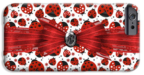 Ladybug iPhone Cases - Ladybug Obsession  iPhone Case by Debra  Miller