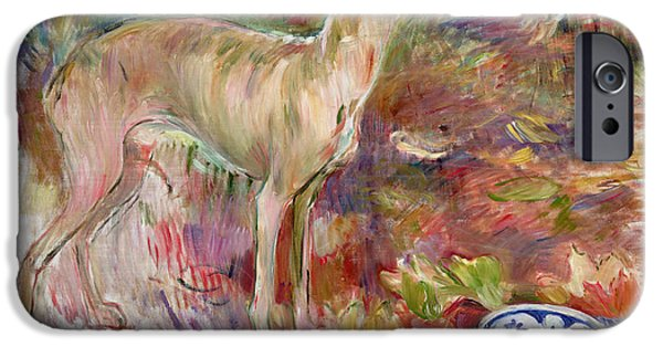 Berthe Paintings iPhone Cases - Laerte the Greyhound iPhone Case by Berthe Morisot
