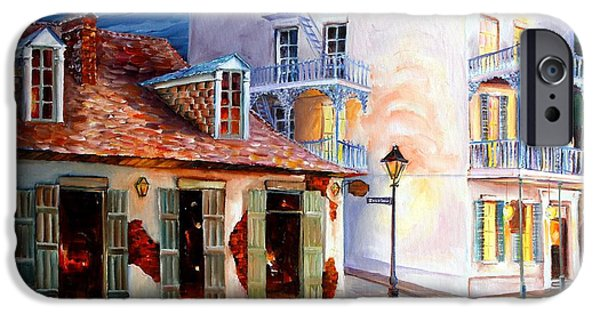 Night Lamp iPhone Cases - Lafittes Guest House on Bourbon iPhone Case by Diane Millsap