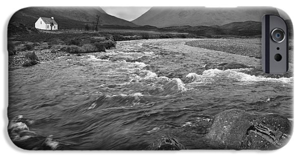 Rainy Day iPhone Cases - Lagangarbh cottage in Glencoe iPhone Case by Colin Woods