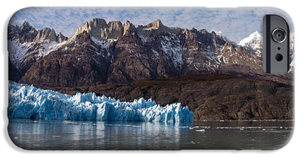 Mountain iPhone Cases - Lago Grey And Grey Glacier With Paine iPhone Case by Panoramic Images