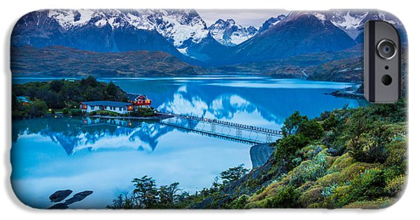 Chile iPhone Cases - Lago Pehoe iPhone Case by Inge Johnsson