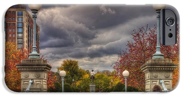 Fall Scenes iPhone Cases - Lagoon Bridge in Boston Public Garden iPhone Case by Joann Vitali
