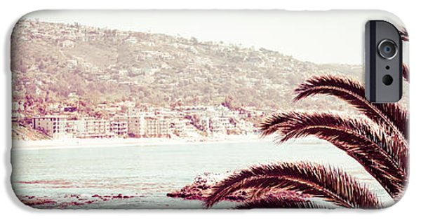 Pacific Ocean Prints iPhone Cases - Laguna Beach California Retro Panorama Photo iPhone Case by Paul Velgos