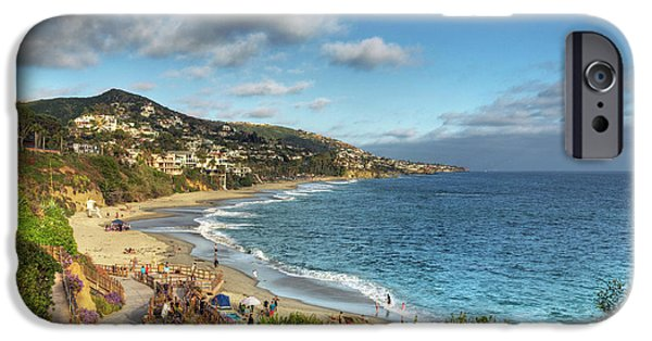 Beach Landscape Digital iPhone Cases - Laguna Beach Shoreline iPhone Case by Eddie Yerkish