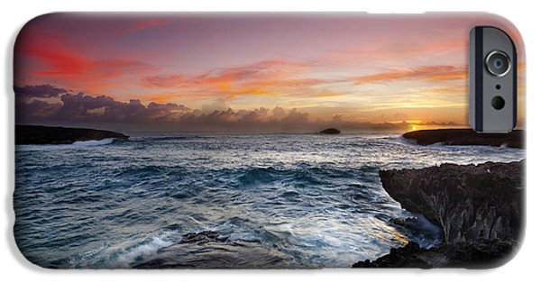 Ocean Art Photography iPhone Cases - Laie Point Sunrise iPhone Case by Sean Davey