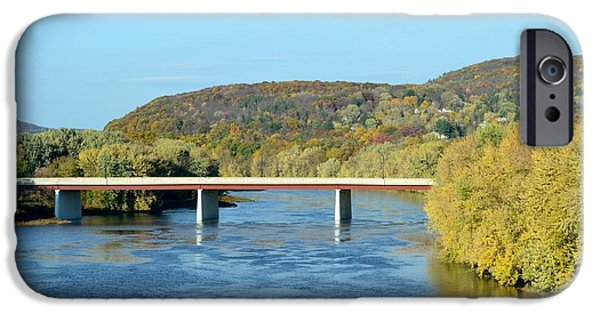 River View Pyrography iPhone Cases - River and bridge in Pennsylvania iPhone Case by Carolyn Freligh