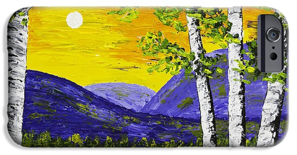 Beautiful Scenery Paintings iPhone Cases - Lake and Mountains At Sunset Palette Knife Painting iPhone Case by Keith Webber Jr