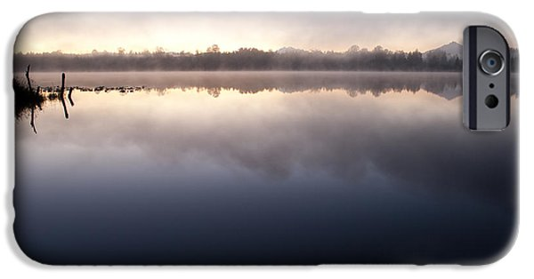 Local Attraction iPhone Cases - Lake Cassidy Sunrise With Mount Pilchuck iPhone Case by Jim Corwin