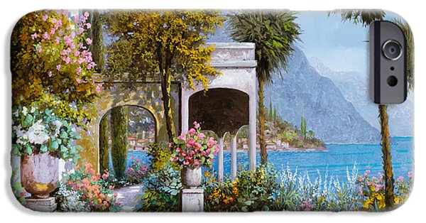 Palm Tree iPhone Cases - Lake Como-la passeggiata al lago iPhone Case by Guido Borelli