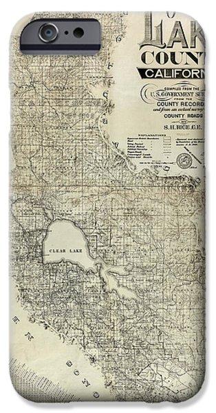 Lake County iPhone Cases - Lake County California Map iPhone Case by Jon Neidert