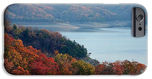 States Tapestries - Textiles iPhone Cases - Lake Cumberland in Autumn iPhone Case by Thia Stover