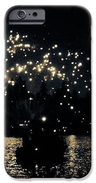 Lake Fireworks iPhone Case by Susan Garren