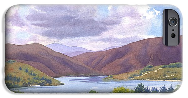 California Paintings iPhone Cases - Lake Hodges San Diego iPhone Case by Mary Helmreich