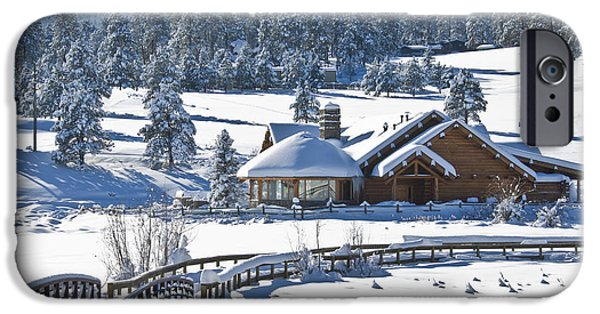 Snow Scene iPhone Cases - Lake House in Snow iPhone Case by Ron White