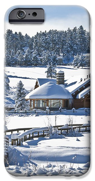 Lake House in Snow iPhone Case by Ron White