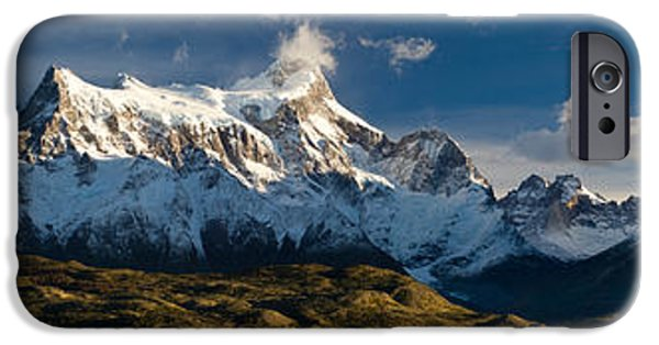 Mountain iPhone Cases - Lake In Front Of Mountains, Lake Pehoe iPhone Case by Panoramic Images