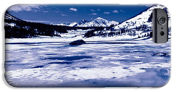 Snow Scene iPhone Cases - Lake In Front Of Snowcapped Mountains iPhone Case by Panoramic Images