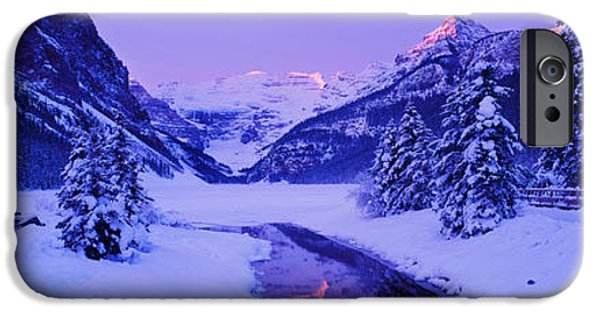 Winter Scene iPhone Cases - Lake In Winter With Mountains iPhone Case by Panoramic Images