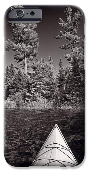 Lake Kayaking BW iPhone Case by Steve Gadomski