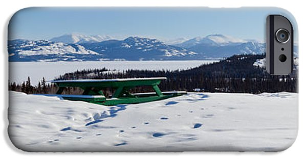 Wintertime iPhone Cases - Lake Laberge Yukon Territory Canada in Winter iPhone Case by Stephan Pietzko