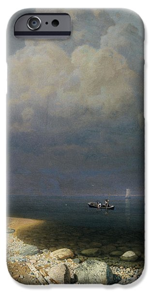 Russian iPhone Cases - Lake Ladoga, 1873 Oil On Canvas iPhone Case by Arkip Ivanovic Kuindzi