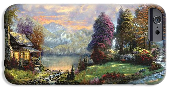 Recently Sold -  - Garden Scene Paintings iPhone Cases - Lake Land Thomas Kinkade Look-a-like iPhone Case by Jessie J De La Portillo