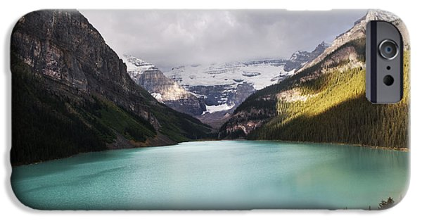 Lake iPhone Cases - Lake Louise panorama iPhone Case by Yuri Santin
