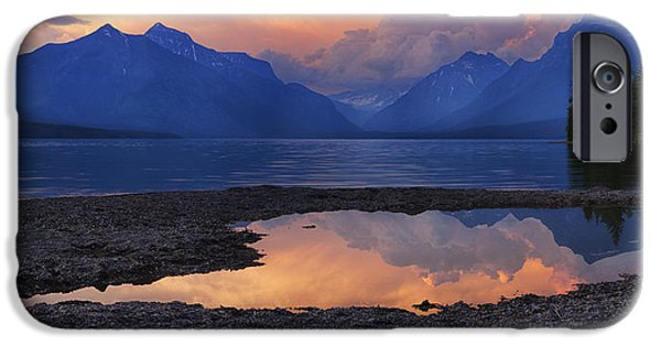 Beauty Mark iPhone Cases - Lake McDonald Sunset iPhone Case by Mark Kiver