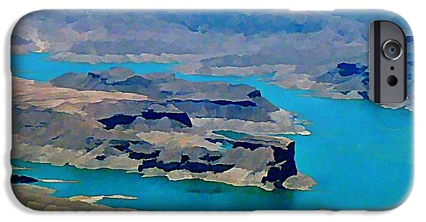 Painter Photo Photographs iPhone Cases - Lake Mead Aerial Shot iPhone Case by John Malone
