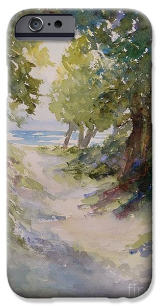 Chicago Paintings iPhone Cases - Lake Michigan Beach Path iPhone Case by Sandra Strohschein