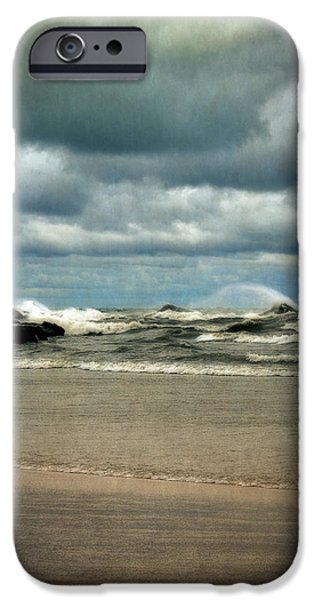 Lake Michigan with Big Wind  iPhone Case by Michelle Calkins