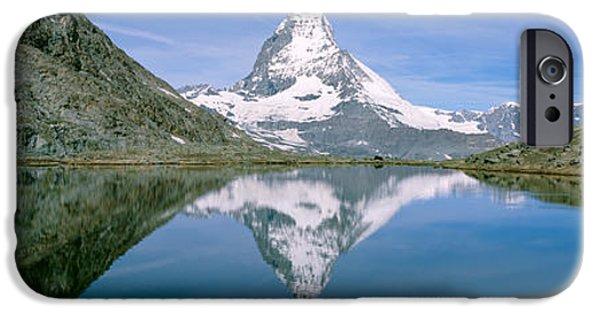 Swiss Photographs iPhone Cases - Lake, Mountains, Matterhorn, Zermatt iPhone Case by Panoramic Images