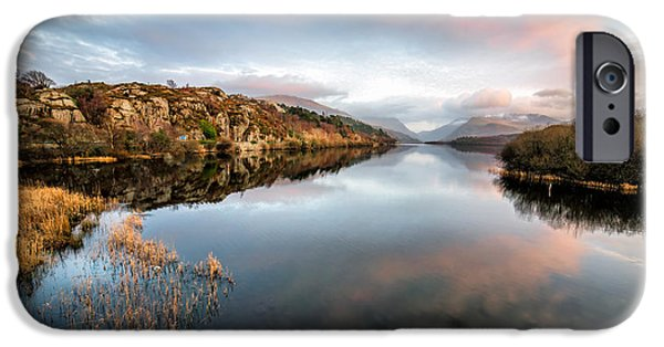 Sunset Digital iPhone Cases - Lake Padarn Sunset iPhone Case by Adrian Evans