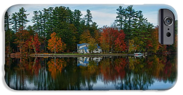 Norway iPhone Cases - Lake Pennasseewassee With Fall Foliage iPhone Case by Bill Bachmann