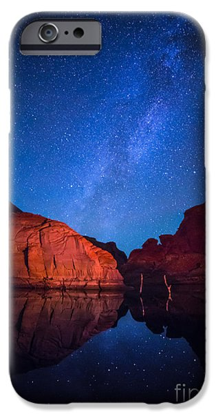 Glen Canyon iPhone Cases - Lake Powell Cosmos iPhone Case by Inge Johnsson