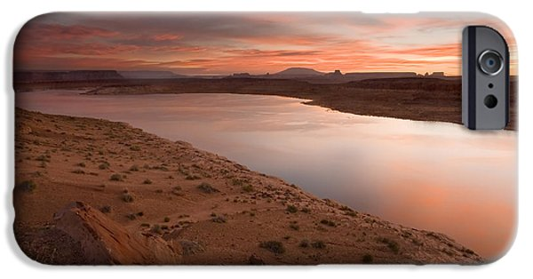 Red Rock iPhone Cases - Lake Powell Dawning iPhone Case by Mike  Dawson
