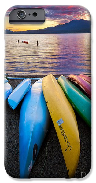 Kayak iPhone Cases - Lake Quinault Kayaks iPhone Case by Inge Johnsson