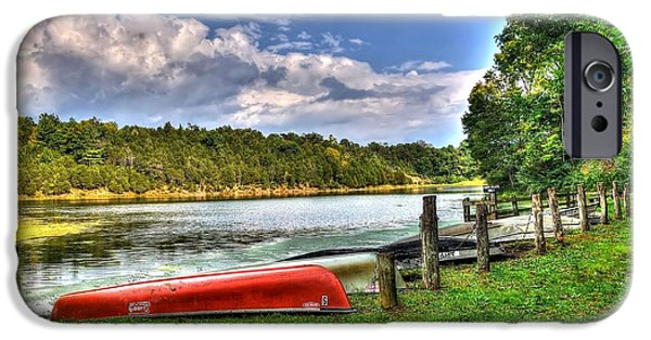 Red Canoe iPhone Cases - Lake Robertson iPhone Case by Todd Hostetter