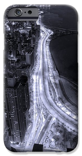Night iPhone Cases - Lake Shore Drive Aerial  B and  W iPhone Case by Steve Gadomski