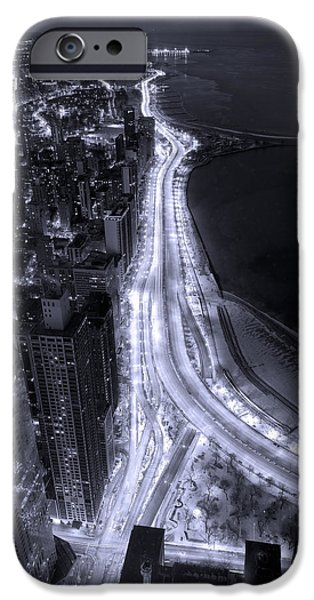 Air iPhone Cases - Lake Shore Drive Aerial  B and  W iPhone Case by Steve Gadomski