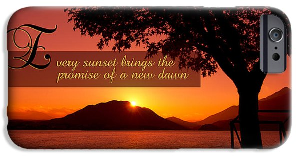 Every Sunset Brings The Promise Of A New Dawn iPhone Cases - Lake Sunset with Promise of a New Dawn iPhone Case by Beverly Claire Kaiya
