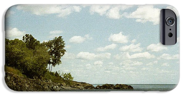 Printmaking iPhone Cases - Lake Superior. London Road. Duluth Minnesota 1970.  iPhone Case by Cathy Peterson
