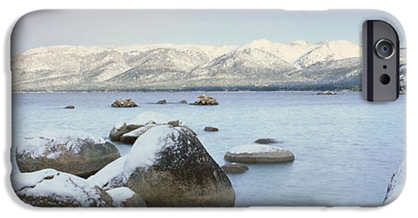 Wintertime iPhone Cases - Lake Tahoe In Wintertime, Nevada iPhone Case by Panoramic Images