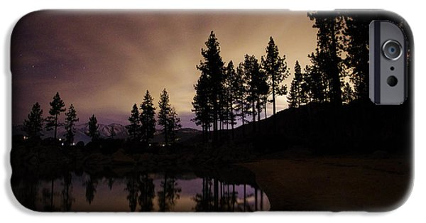 Astrophotography iPhone Cases - Lake Tahoe Sand Harbor Silhouette iPhone Case by Scott McGuire