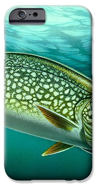Lake Trout and Spoon iPhone Case by Jon Q Wright