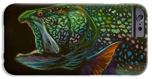 Outdoors Pastels iPhone Cases - Lake trout portrait iPhone Case by Yusniel Santos