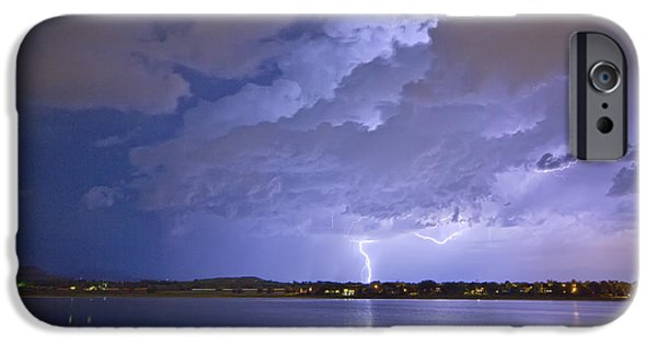 The Lightning Man iPhone Cases - Lake View Lightning Thunderstorm iPhone Case by James BO  Insogna