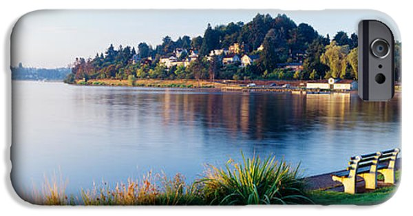 Pathway iPhone Cases - Lake Washington, Mount Baker Park iPhone Case by Panoramic Images